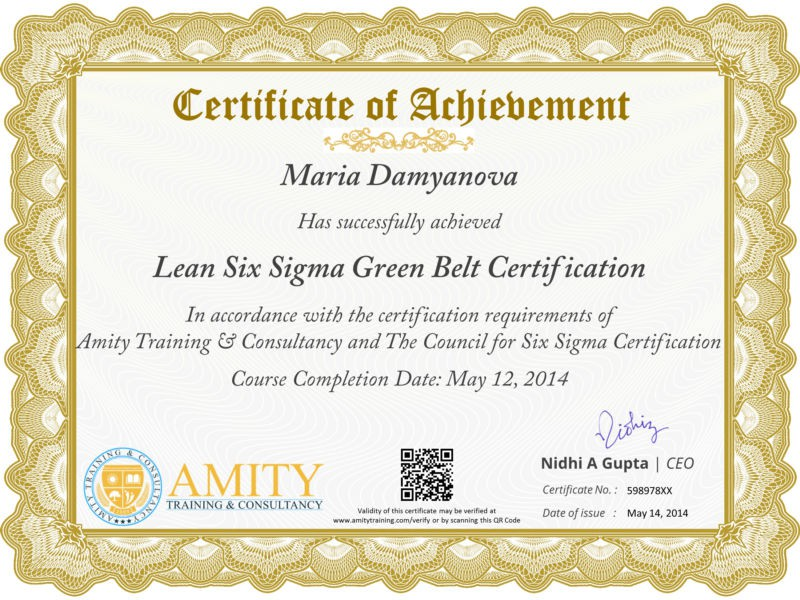 How to get six sigma green belt certification for Six sigma black belt certificate template