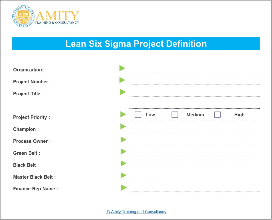 lean six sigma project definition
